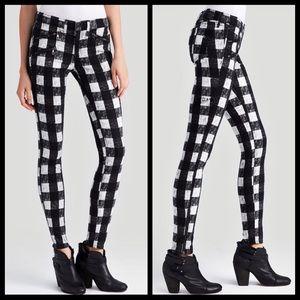 Rag and Bone black white plaid skinny jeans